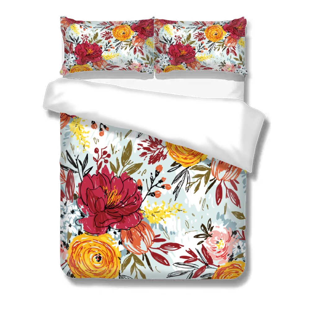 Baby soft Duvet Cover <strong>Set</strong> 3pc Soft Natural Organic Bedding Seamless Twin Full Queen <strong>King</strong> Custom <strong>size</strong> red flower floral printed