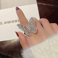 cubic zirconia butterfly finger adjustable crystal fashion women rings for ladies jewelry women trend 2019