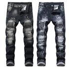 Wholesale Price Custom China manufacture Fashion Black Damaged hole jeans Pants Men Ripped Denim Jeans