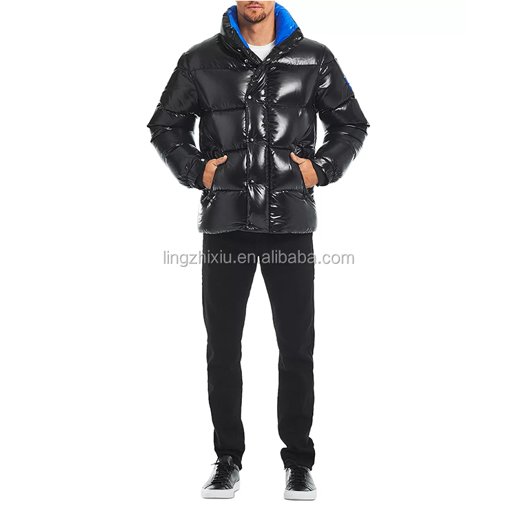 Fashion Shiny Puffer Down Coat Mens Bubble Quilted Jacket