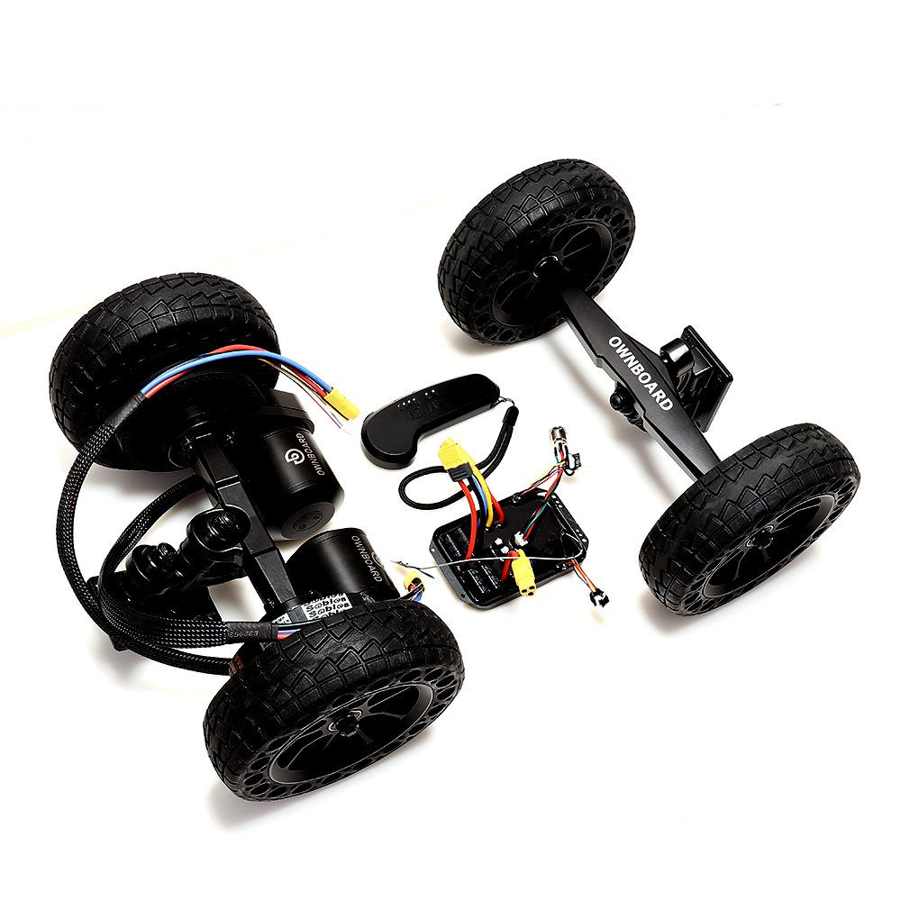 Off road electric skateboard motor kit with 6368 dual belt motor 3000W Double kingpin trucks and all terrain wheels