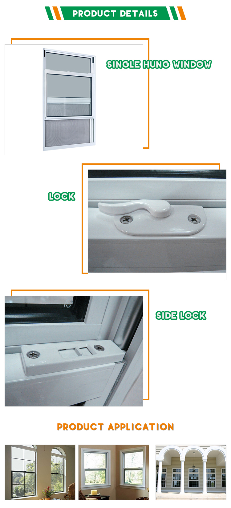 French Aluminum Single Hung Sash Window Or Top Hung Window With High Quality for Sale