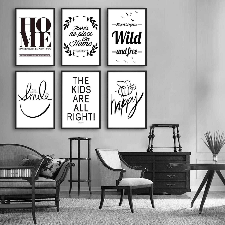 Modern Nordic Paintings English Alphabet Theme Black White Posters ...