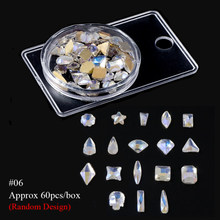 1 коробка, смешанный дизайн, Стразы для ногтей, несимметричный стеклянный камень с плоской задней частью, искусственный бриллиант, кристалл,...(Китай)