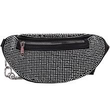 Женские поясные сумки с бриллиантами, Дамская поясная сумка, модная нагрудная сумка, банановые стразы, цепочка через плечо, сумки на ремне(Китай)