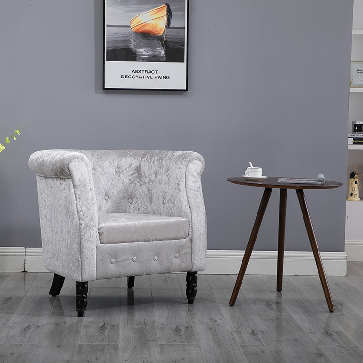 Wholesale Upholstered  Button Tufted Fabric Accent Chair