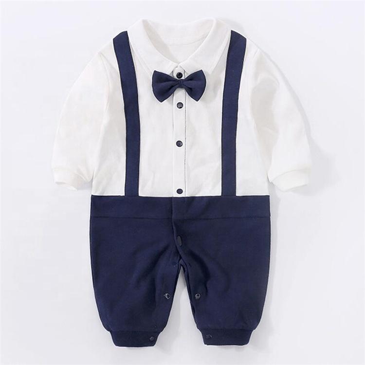 Hot Selling long sleeve gentlemen baby jumpsuit cotton baby romper suit autumn