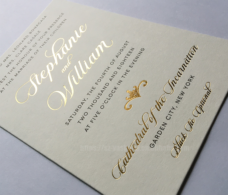Black printing white wedding thank you card gold stamping casual wedding invitations