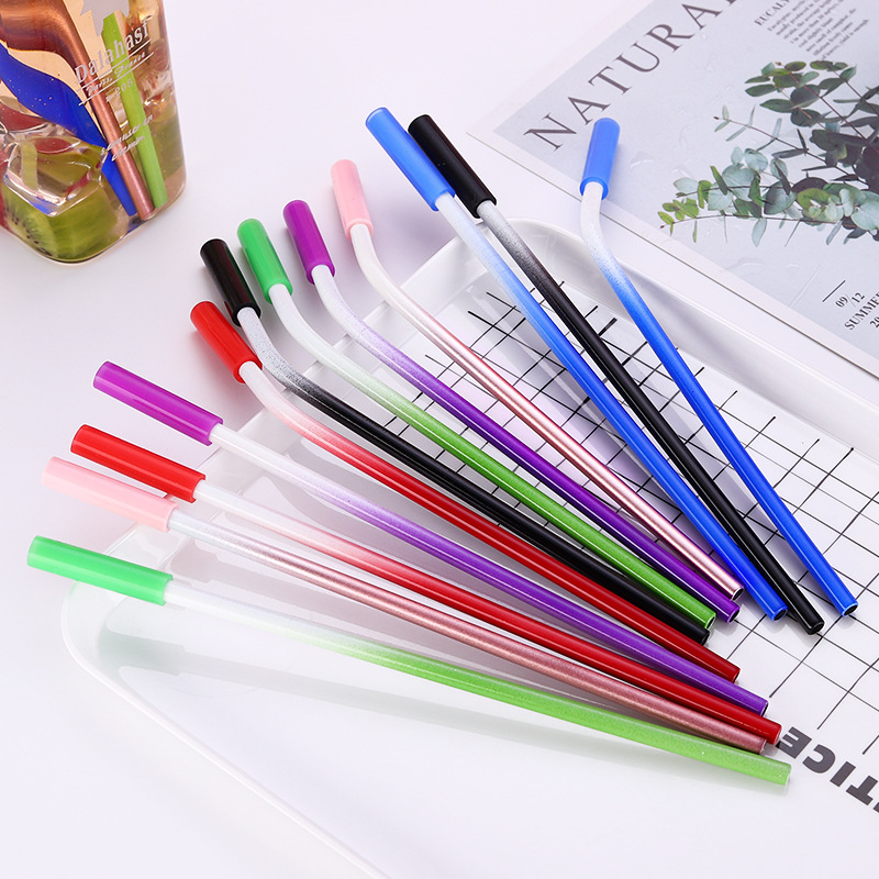 Colorful Pouch neoprene bag colored straw set with silicone tip
