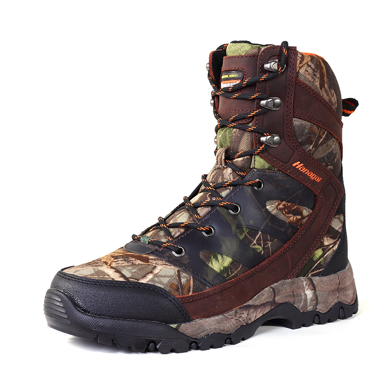 Green camo flow mould leather high quality light weight outdoor boots shoes