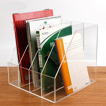 A4 4-tiers clear plastic table top desk file storage sort holder