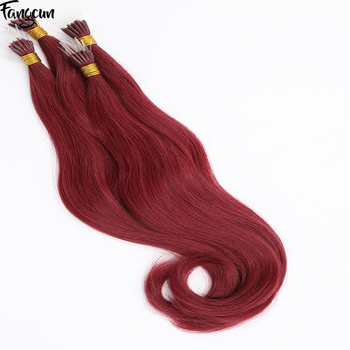 Plastic i tip link hair extensions #530 wine red natural wavy 100 human hair