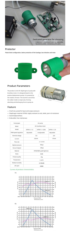 Kamoer KVP04 12 โวลต์ 24vdc ไฟฟ้าปั๊มมินิปั๊มสูญญากาศอากาศ