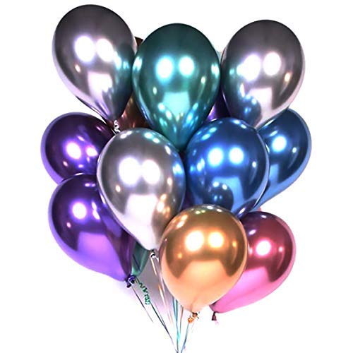 2019 New Design 12 Inch Multicolor Metallic Helium Bobo Balloons Chrome Bubble Balloon 50 Pcs For Wedding Party Decorations