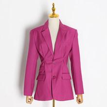 Женский свободный Блейзер TWOTWINSTYLE, повседневный костюм с рюшами и отложным воротником, туника с длинными рукавами, 2020(Китай)