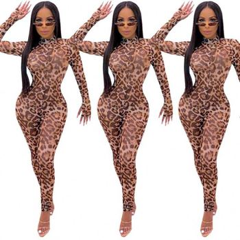 09606NA fashion long sleeve sexy leopard print mesh sexy bodycon bandage women trendy female spandex jumpsuits 2020