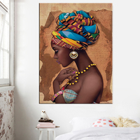 Africa Wall Art Posters and Prints Black home decor African Woman Portrait Painting wall picture on canvas