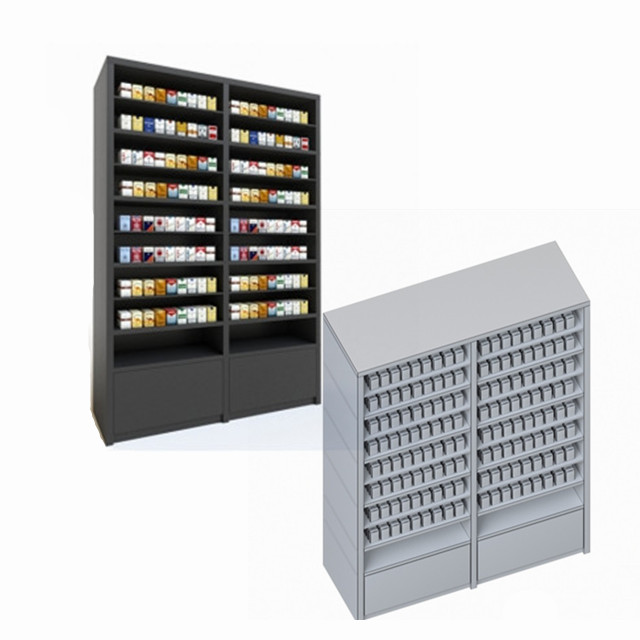 Customized metal convenience store cigarette racks display