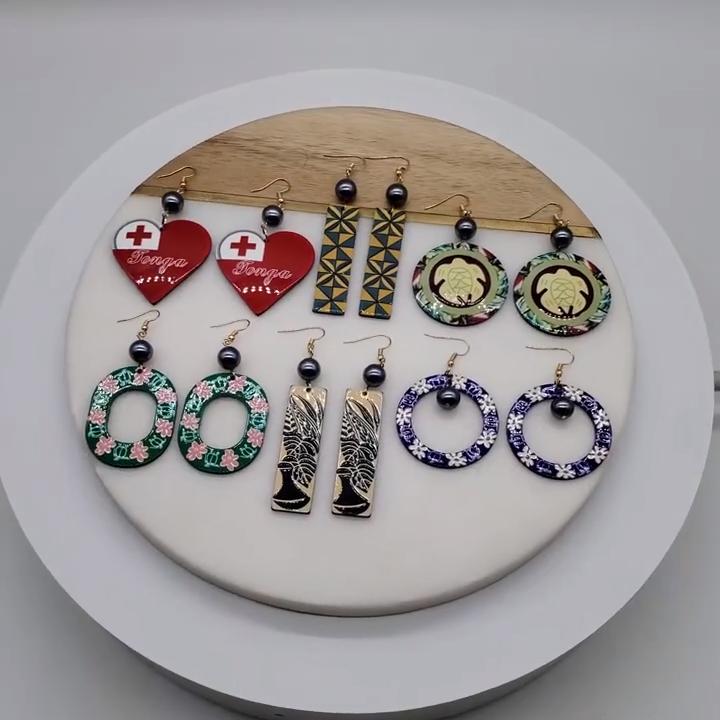 Hawaiian Island  style acrylic  flower black pearl earrings jewelry wholesale for women 2020