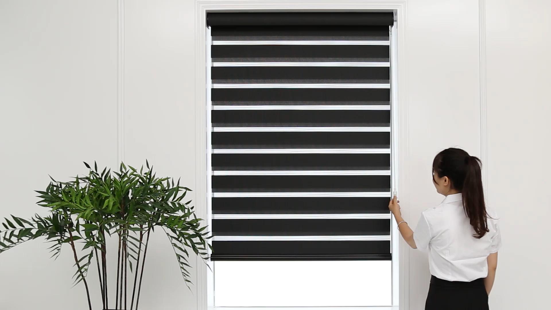 Cordless zebra blinds with wand control motor electric zebra shades with fireretardant fabrics
