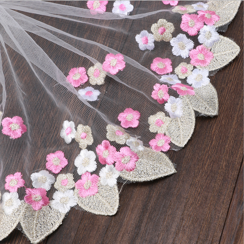 Hot sale multi-color leaf and flowers lace mesh embroidery mesh lace trim 18CM width