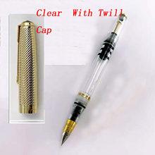 Wing Sung 601A вакуумная перьевая ручка, прозрачная чернильная ручка, Золотая Кепка, хороший наконечник, деловая Канцтовары, офисная, школьная Руч...(Китай)