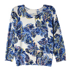 Custom design printed blue paisley knitted ladies cardigans sweater for women