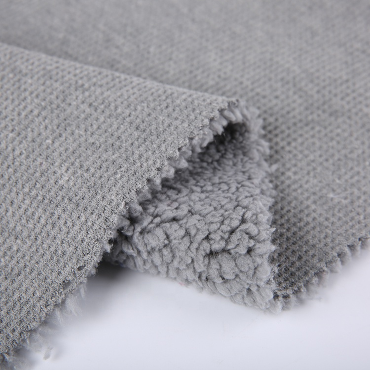 China direct textiles plain dyed knitted waffle fabric bonded sherpa fleece