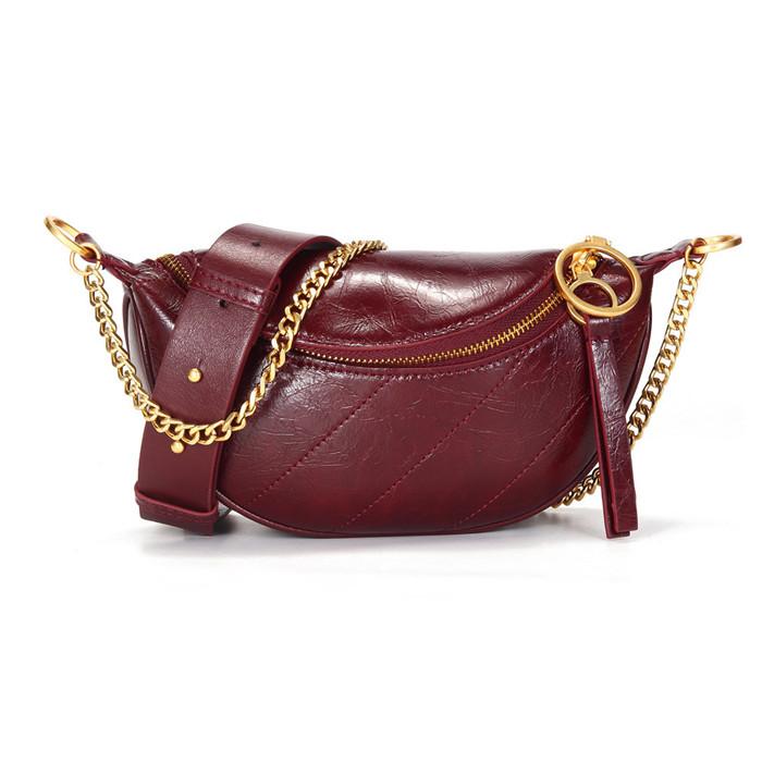 New Arrival Luxury Genuine Leather Women Waist Fanny Belt Packs Waist Bags Leather Multicolor Chest Bag, Burgundy,black,green,creamy