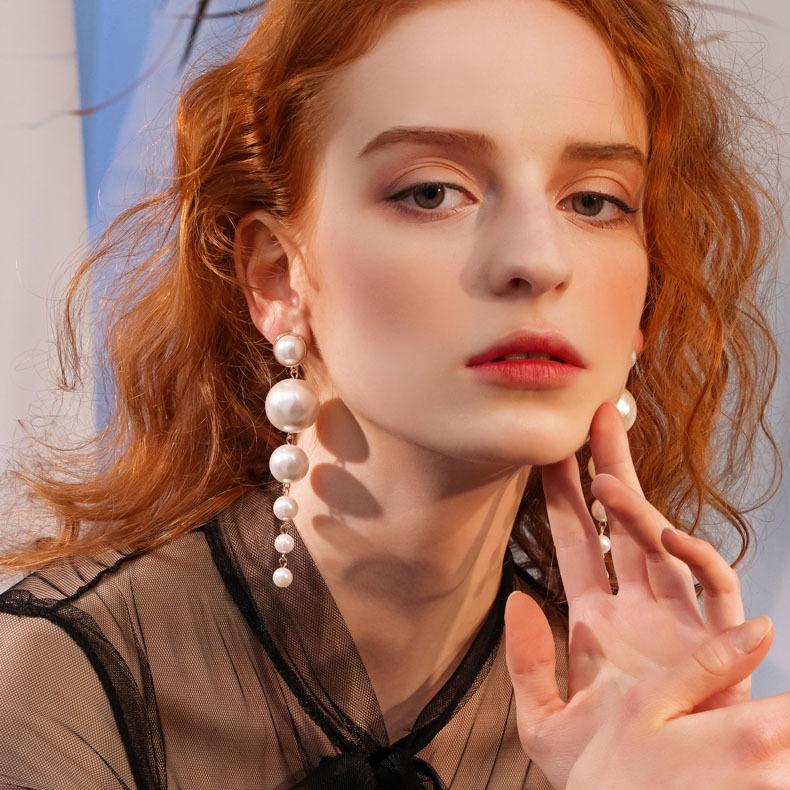 ต่างหูมุกเทียมแบบยาวคุณภาพสูงสำหรับผู้หญิง,ต่างหูมุกยาวประดับด้วยลูกปัดที่สวยงาม