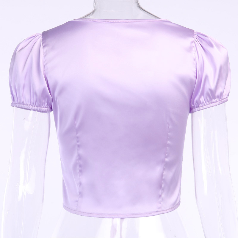 Solid Satin Silk Sexy V-Neck Crop Top Blouse Shirts Women Fashion Summer Thin Shirt Blouses