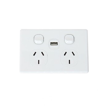 SAA Australia slim wall power point with 2 amps USB socket