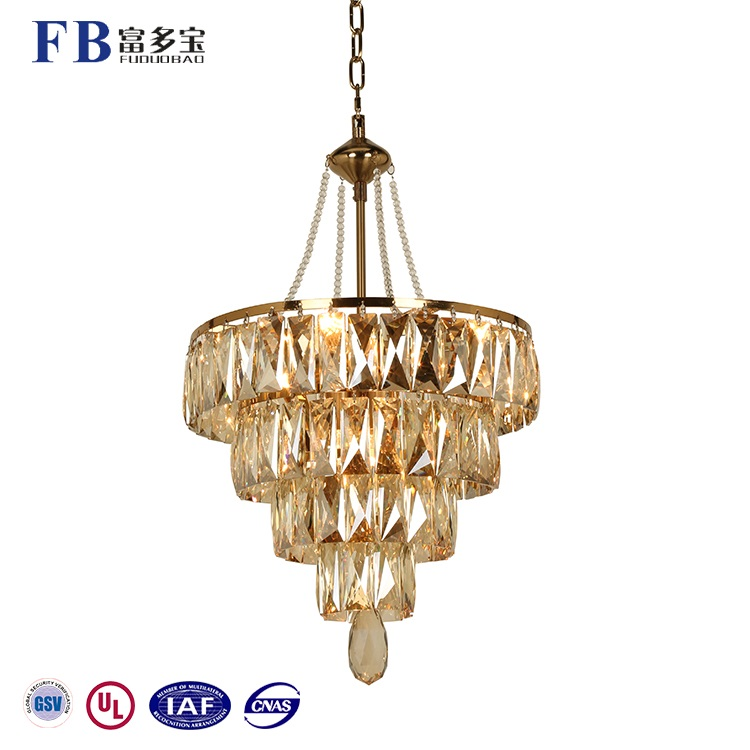 Hot Selling Amber/Bronze Color Crystal Chandeliers Pendants Light For Hotel Lobby