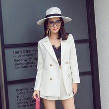 Женский двубортный костюм с длинным рукавом, свободный Блейзер на металлической пуговице, прямые шорты с высокой талией, офисная одежда в К...(Китай)
