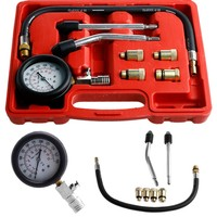 1set Motor Auto Petrol Gas Engine Cylinder Compression Tester Gauge Professional Kits car-styling