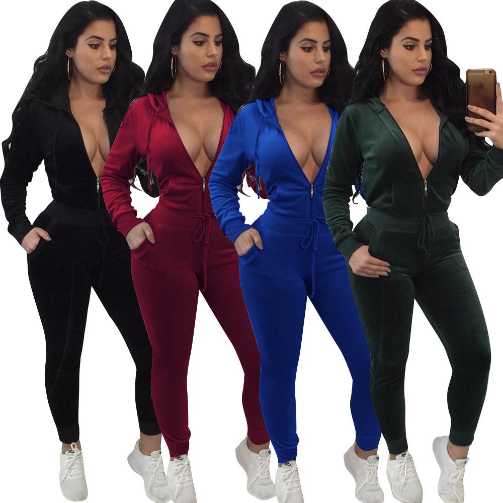 Roupas Fornecedor L5156 Inverno roupas sexy desportivo de duas peças roupas moletom com capuz de veludo conjunto de duas peças das mulheres
