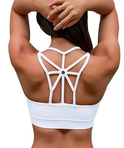 Fashion Low MOQ Private Label Cross Back Medium Support Push Up Womens Workout Running Sports Yoga Bra