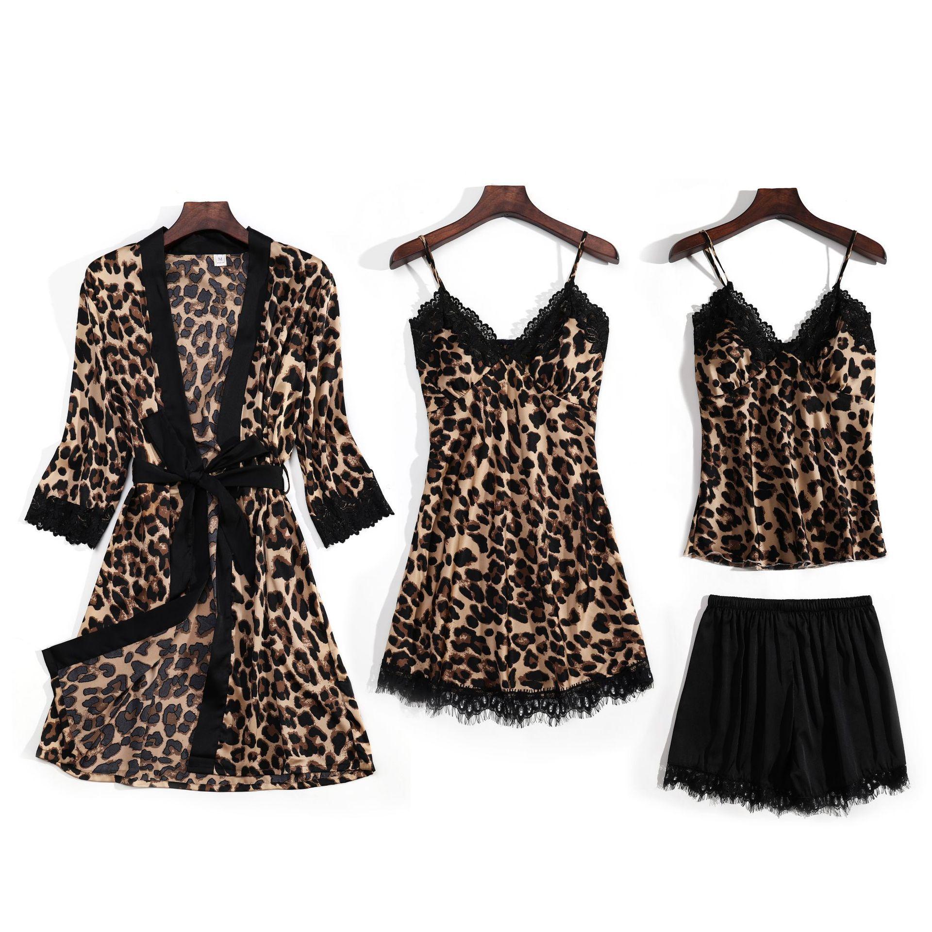 2020 neue Schlinge Polyester Leopard Print Pyjama für Frauen 4 Stück Sexy Dessous