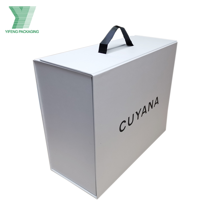 Plain White Color Textured Paper Collapsible Gift Box with magnet Closure