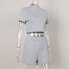 Женский короткий комплект из 2 предметов для девочек, короткий топ с коротким рукавом и шорты, байкерские костюмы, женский летний однотонный...(Китай)