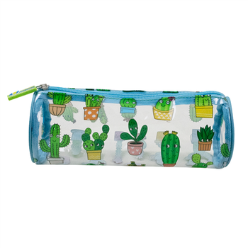 Cactus Pencil Case stationery Multifunction Custom Pencil Bag Cylinder PVC Students School Office Pouch