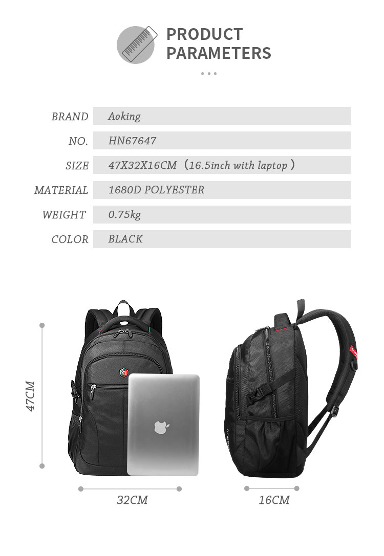 2020 AOKING waterproof large capacity 35L breathable man laptop black computer school bags notebook mochilas masculina backpack