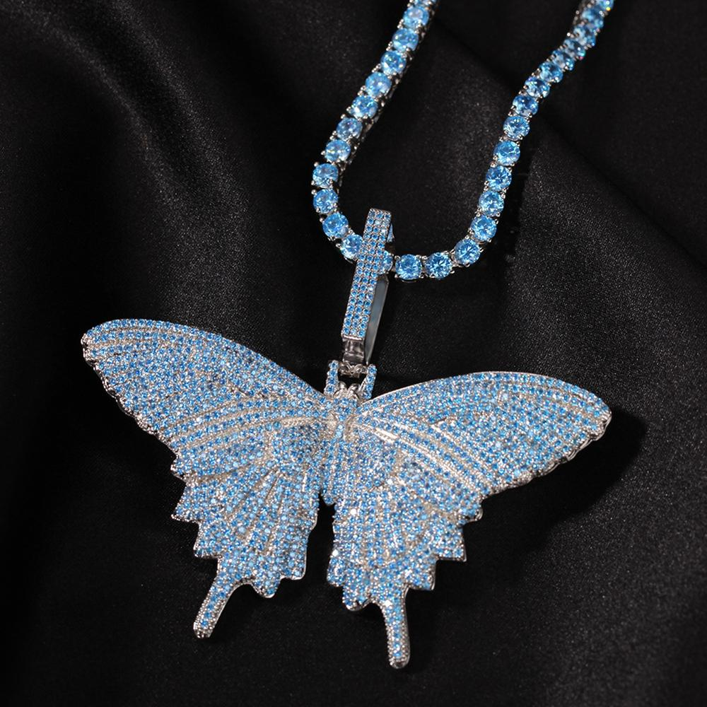 Hip Hop Jewelry Light Blue CZ Full Iced Out Butterfly Necklace Butterfly Pendant With Cuban Link Chain