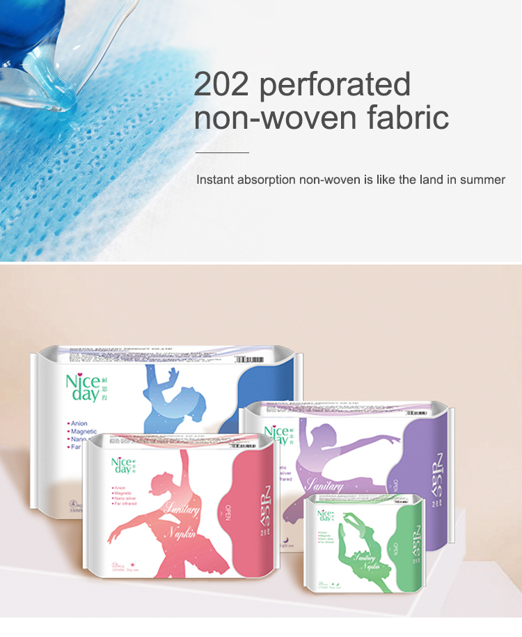 Women over night anion sanitary pad niceday brand name sanitary napkin
