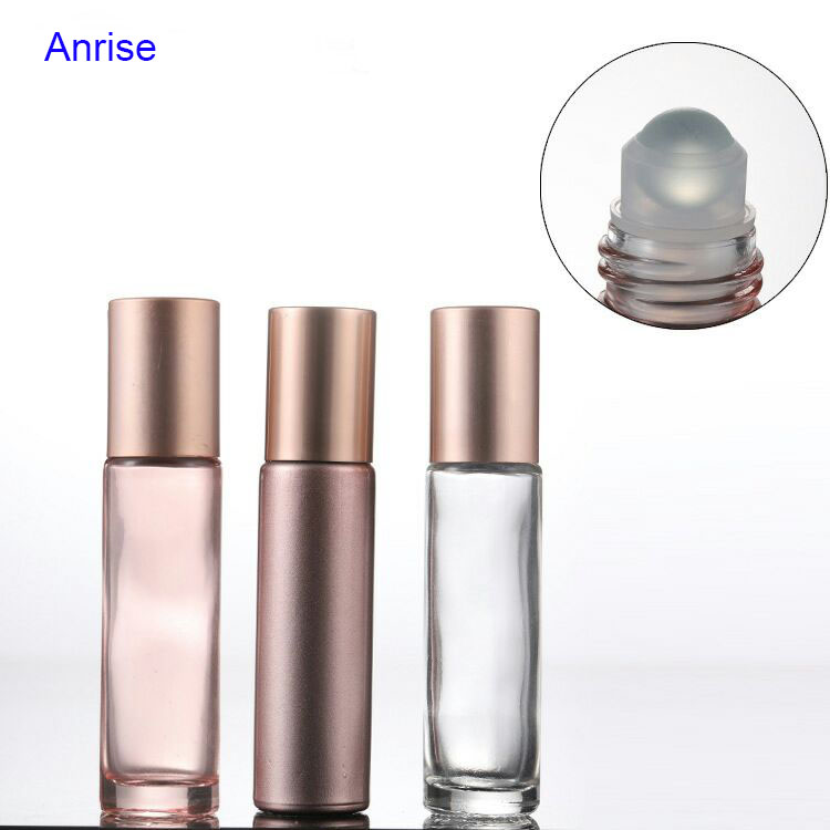 10ml Pink Glass Essential Oil Use Roll On Bottle With Crystal Gemstone Roller Ball and Rose Gold Cap