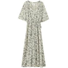 Женское платье с принтом EAM, синее длинное платье большого размера с треугольным вырезом и коротким рукавом, весенне-летняя мода 2020 1U885(Китай)