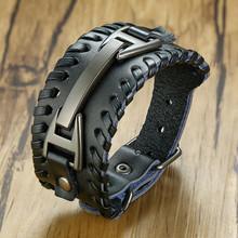 Vnox мужские стильные кожаные браслеты с викингом Рок Панк подвеска компас мужские наручные ювелирные изделия Регулируемая длина(Китай)