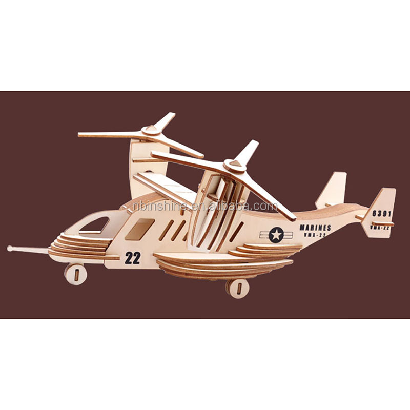 kids educational jigsaw toys 3D wooden creative wooden puzzle warplane  wooden art craft design 3d puzzle
