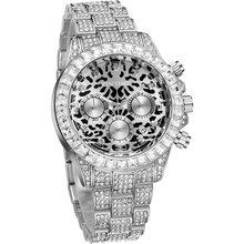 Iced Out Diamond Мужские часы Роскошные Rolexable Стальные кварцевые 2020 с хронографом серебряные спортивные военные мужские часы Стальные мужские час...(Китай)