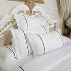 Customized Patchwork White Satin Cotton Jacquard hotel bedding set , 7pcs Jacquard Comforter Set with Piping